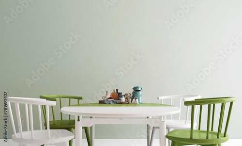 Fotografía  Mock up dining table in olive green and white color, modern interior background,