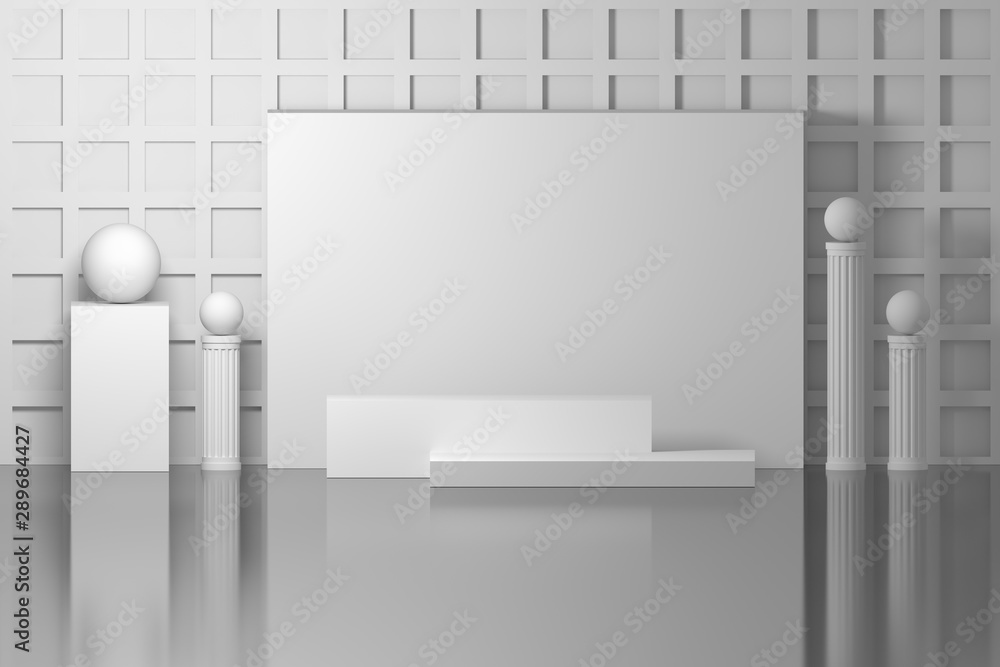 Fototapeta Pure white mock up indoor inside composition with empty blank board, pedestals and pillars with balls. 3d illustration.