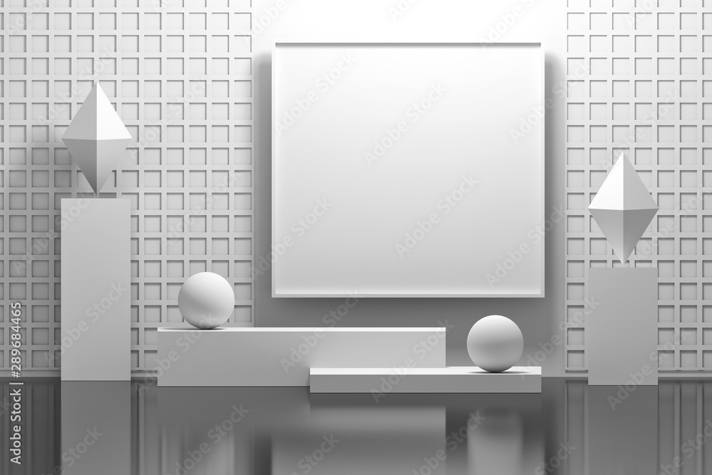 Fototapeta Pure white mock up indoor interior composition with empty blank picture frame, pedestals, pillars, rhombuses and balls. 3d illustration.