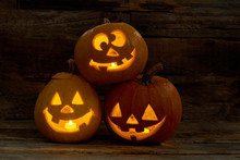 Three Funny Pumpkins For Hallo...