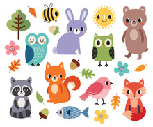 Vector Set Of Cute Forest Anim...