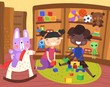 Happy little boy and girl playing in a toy store with their toys as their cute pet rabbit takes a ride on a rocking horse, colorful vector illustration
