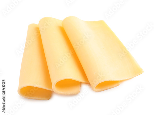 Slices of tasty cheese on white background