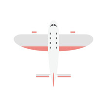 Small Light Weight Sport Airplane Or Private Aircraft Flat Vector Illustration.