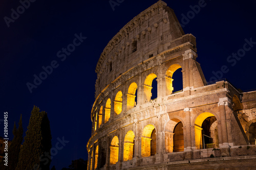 Fotografie, Obraz  The famous Colosseum at night in Rome