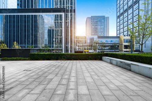 Fototapety, obrazy: Empty floors and office buildings in the financial center, Qingdao, China
