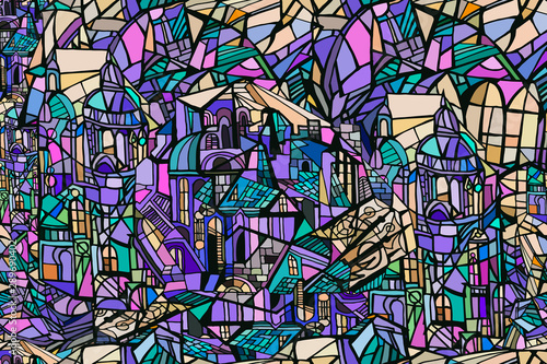 Cuadros en Lienzo  Vector seamless pattern with abstract fantasy Gothic city