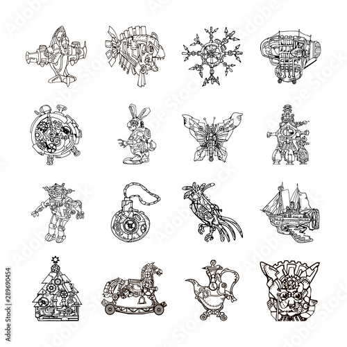 Fotografie, Obraz  Set of 16 line art abstract fantasy vintage steampunk style toy icons featuring fictional machines and animals