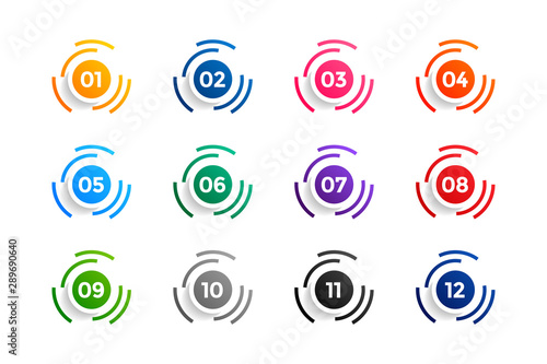 Cuadros en Lienzo  circle number bullet points set from one to twelve