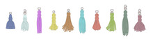 Isolated Colorful Tassel Set In Hand Drawn Cartoon Style