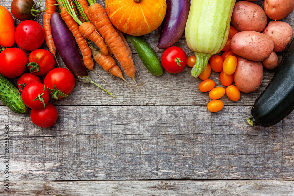 Fototapety, obrazy: Assortment different fresh organic vegetables on country style wooden background. Healthy food vegan vegetarian dieting concept. Local garden produce clean food. Frame top view flat lay copy space