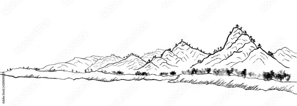 Tradycyjny orientalny krajobraz atramentu. Daleki niebieski góry ręcznie rysowane tuszem <span>plik: #289694039 | autor: gaihong</span>