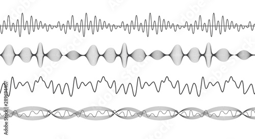 Set of black seamless borders and patterns with the amplitude of sound Canvas Print