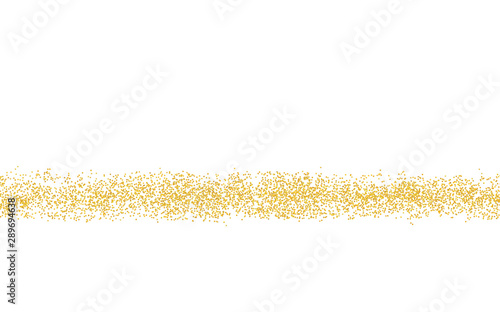 Horizontal strip sprinkled with crumbs golden texture. Background Gold dust on a white background. Sand particles grain or sand. Vector backdrop golden path. Pieces grunge for design illustration