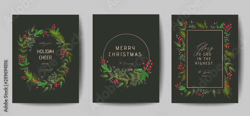Fotomural Set of Elegant Merry Christmas and New Year 2020 Cards with Pine Wreath, Mistlet