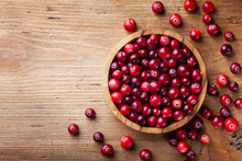 Ripe Cranberry In Wooden Bowl ...