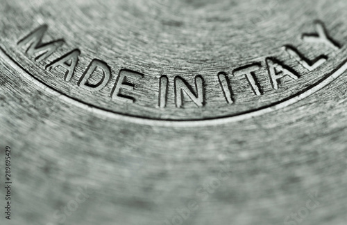 stainless steel pot with made in Italy text
