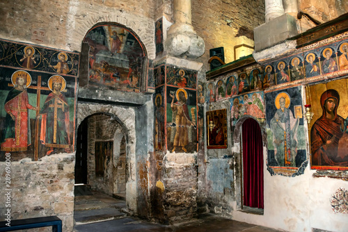 Inside View of The byzantine church of Panagia Parigoritissa (13th century A.D.)in Arta, Greece