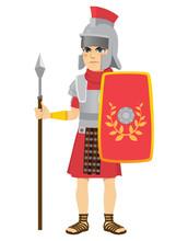 Roman Legionary Soldier Holdin...