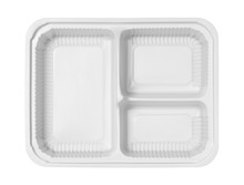 Plastic Lunch Box Three Compartment Separated Top View (with Clipping Path) Isolated On White Background