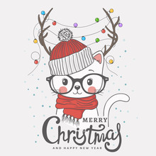Cute Little Cat With Deer Horns, Christmas Garland, Knitted Cap, Scarf. Christmas Card. New Year. Season's Greetings. Vector Illustration