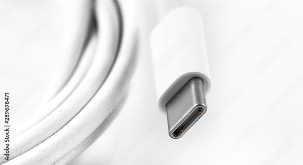 Fototapeta white USB Type-C charger cable on white background