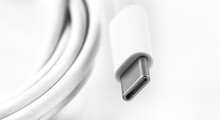 White USB Type-C Charger Cable On White Background