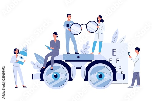 Valokuvatapetti Ophthalmology web banner with tiny people flat vector illustration isolated