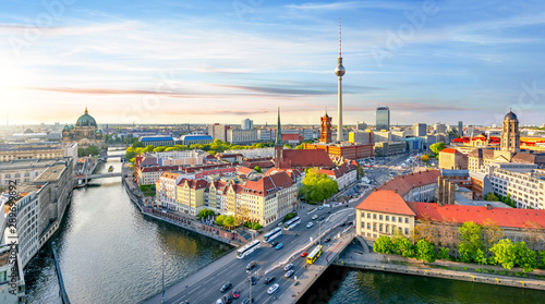 Keuken foto achterwand Berlijn Berlin skyline with Berlin cathedral and Television tower at sunset, Germany