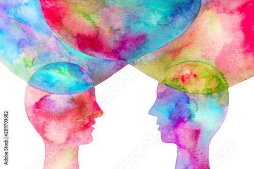 Fotografia disegno grafico due persone se si scambiano le idee sfondo bianco