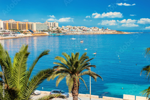 Waterside of St. Julian's bay and Sliema. Malta