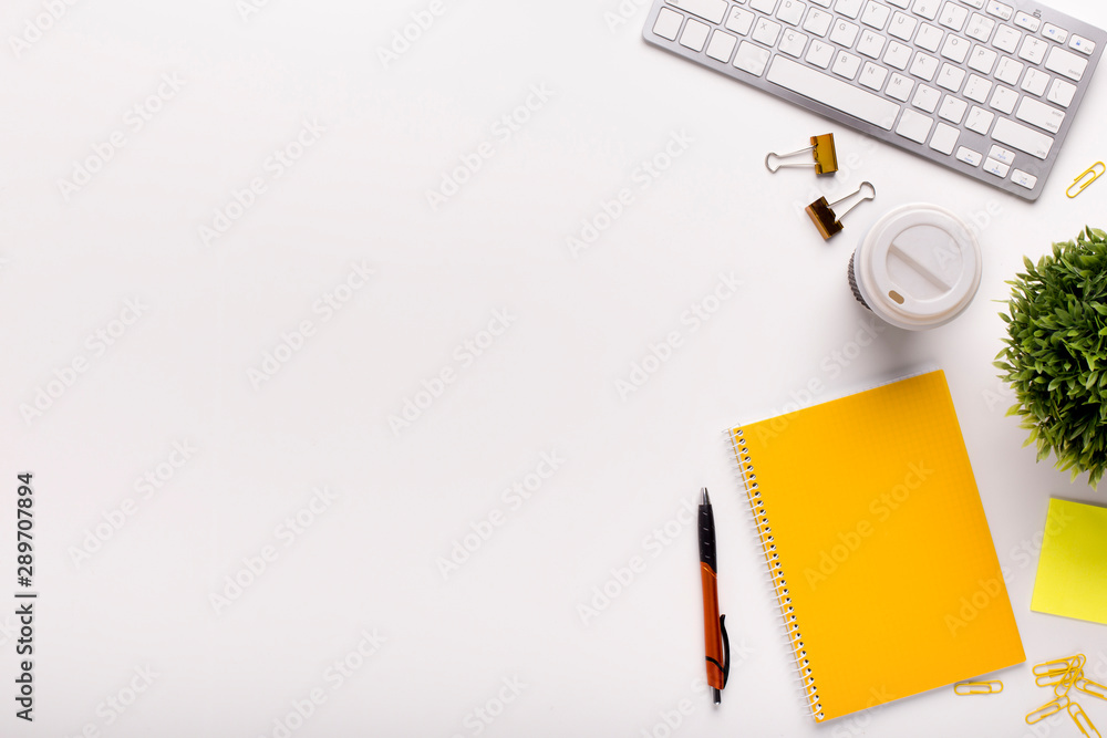 Fototapety, obrazy: Office table with yellow notes and white keypad