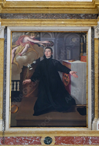 Saint Aloysius Gonzaga, altarpiece in Mantua Cathedral, Italy Wallpaper Mural