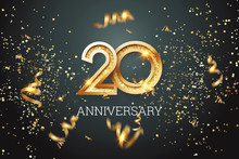 Golden Numbers, 20 Years Anniversary Celebration On Dark Background And Confetti. Celebration Template, Flyer. 3D Illustration, 3D Rendering