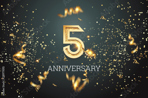 Golden numbers, 5 years anniversary celebration on dark background and confetti Tablou Canvas