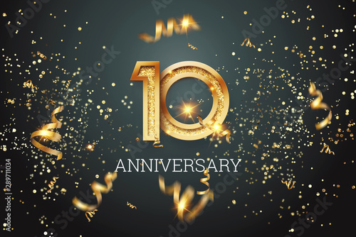 Canvas Print Golden numbers, 10 years anniversary celebration on dark background and confetti