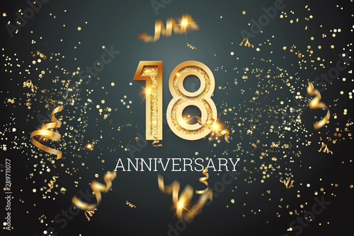 Golden numbers, 18 years anniversary, adulthood on a dark background and confetti Wallpaper Mural