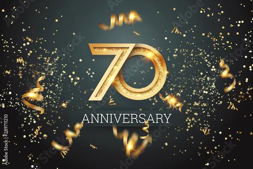 Obraz na plátně  Golden numbers, 70 years anniversary celebration on dark background and confetti