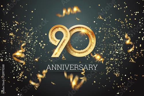 Valokuvatapetti Golden numbers, 90 years anniversary celebration on dark background and confetti