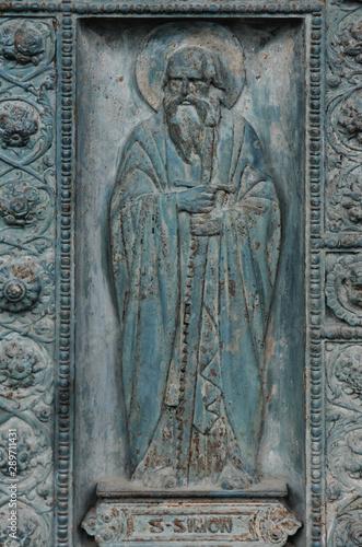 Fotomural Saint Simon, detail of door of Saint Vincent de Paul church, Paris