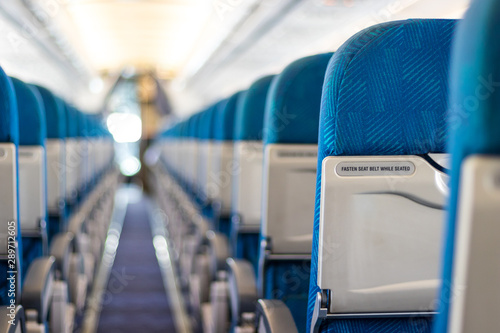Safety message on passenger seats of the airplane Wallpaper Mural