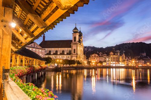 Old wooden architecture called Chapel Bridge in Luzern or Lucerne, Switzerland d Wallpaper Mural