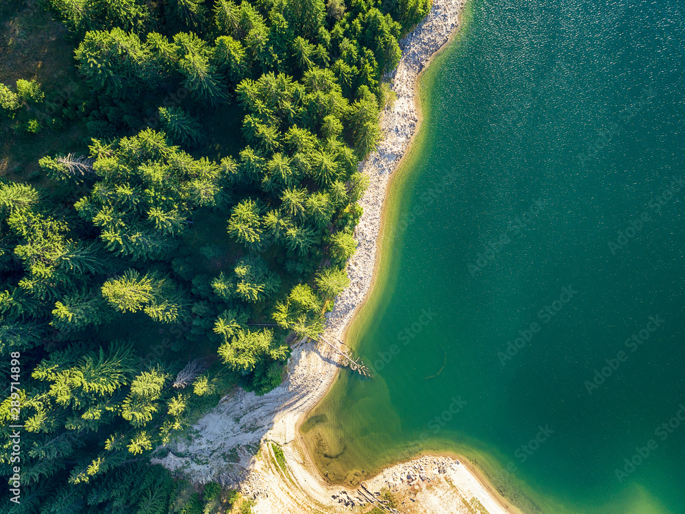 Fototapety, obrazy: drone image. aerial view of rural area with fields and forest lake. sunny day in Bulgaria,Dospat - vintage retro look - vintage autumn color look
