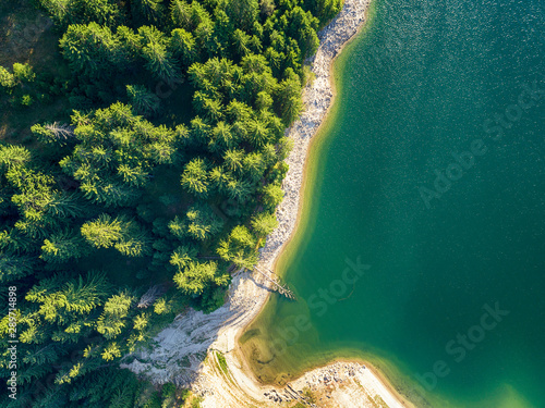 Poster Cote drone image. aerial view of rural area with fields and forest lake. sunny day in Bulgaria,Dospat - vintage retro look - vintage autumn color look