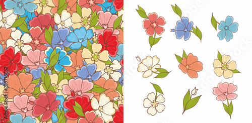 Tuinposter Vlinders Floral seamless pattern. Flowers. Elements and pattern. Design elements