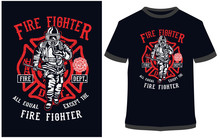 Fire Fighter - Typography, T-s...
