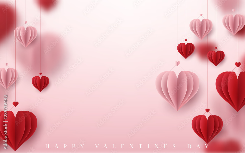 Fototapeta 3D Realistic Red Hearts Background with Sweet Happy Valentines Day. Vector illustration
