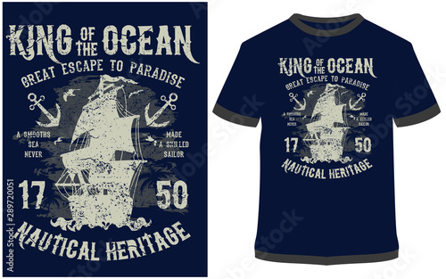 King Of The Ocean Vector graphic typographic design for poster, label, badge, lo Wallpaper Mural