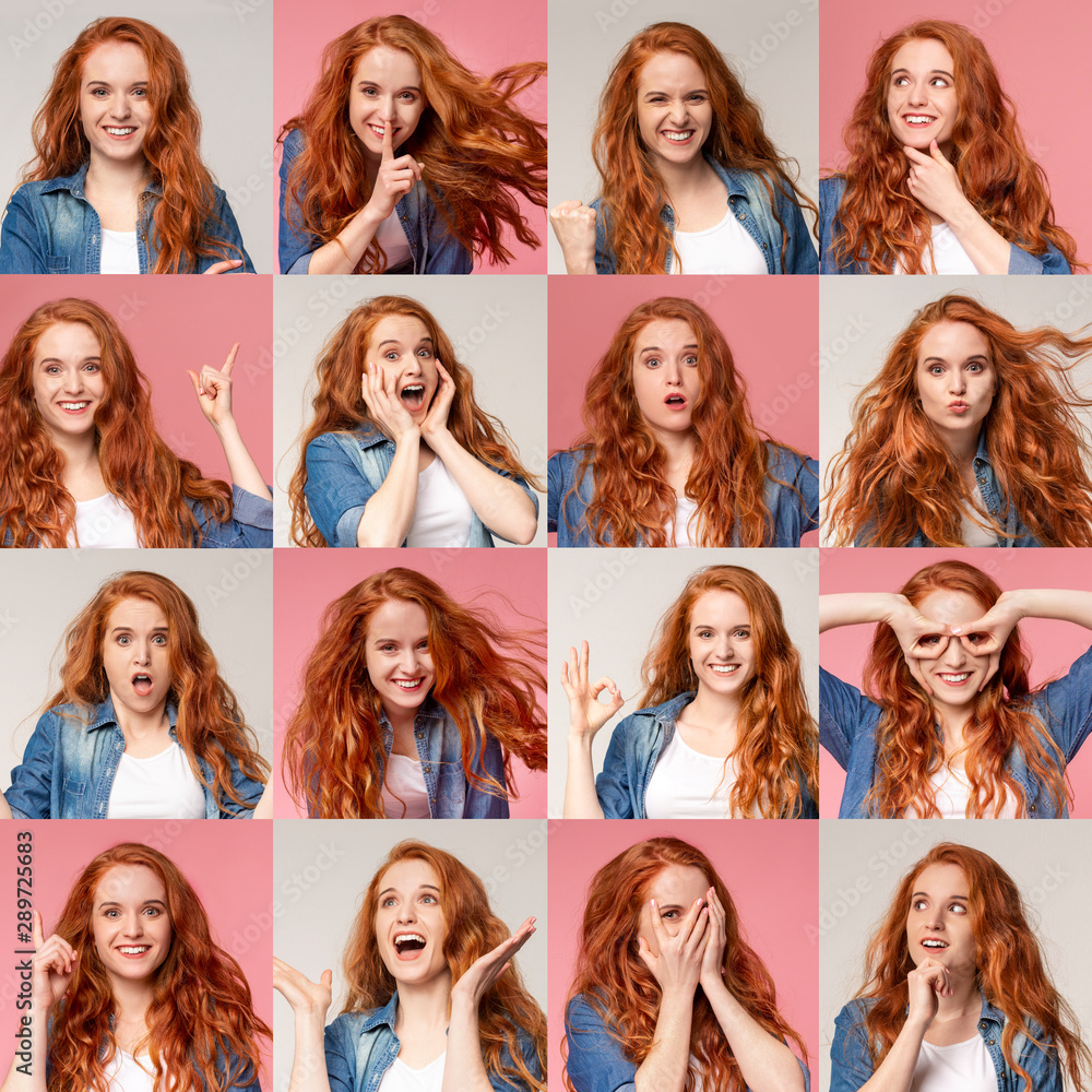 Fototapeta Collage of young redhead girl portraits with different emotions and gestures