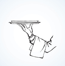 Hand Of Waiter With Dish. Vect...